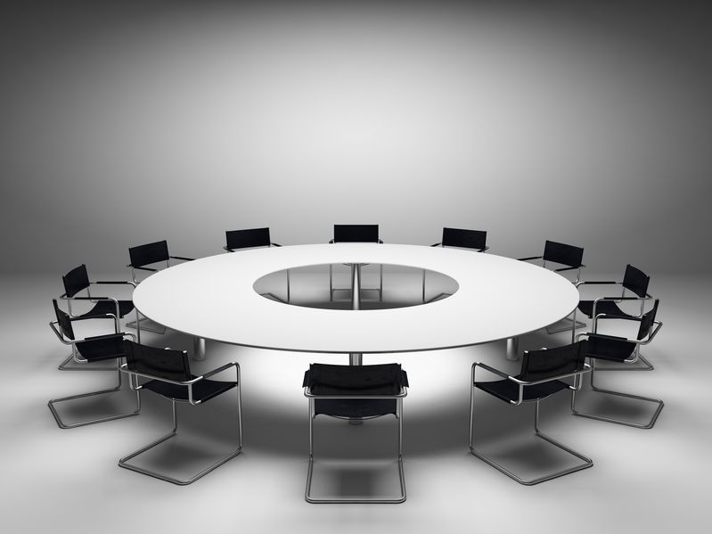 Photo of a round conference table